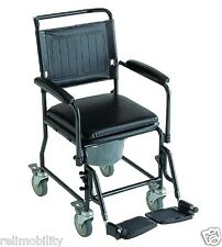 Z-Tec Mobile Commode Chair Swing Away Arms Detachable Padded Seat