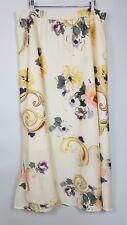 M&S Per Una Floral Skirt Ivory Floaty Long Side Slits Summer Wedding Size UK 18