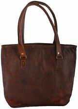 """Handmade Purse 16"""" Vintage Looking Women Genuine Tote Shoulder Bag Brown Leather"""