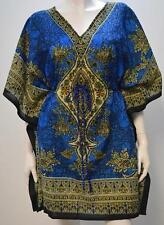 PLUS SIZE ABSTRACT PAISLEY FLORAL KAFTAN TOP BLUE 20 22 24 26 28 30 32 34