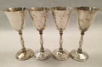 Vintage Set of 4 Electroplated Britannia Metal EPB Goblets Made in England