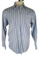 Lacoste Mens Blue Stripe Long Sleeve Cotton Shirt L 42