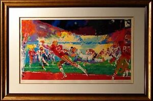 """LeRoy Neiman """"Super Play"""" football Hand Signed & Numbered Serigraph, framed"""