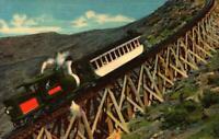 LINEN POSTCARD-JACOBS LADDER, MOUNT WASHINGTON COG RAILWAY, WHITE MTNS, NH  BK15