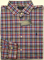 NEW $98 Polo Ralph Lauren Performance Long Sleeve Shirt Mens Purple Green Plaid