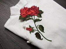 2PCS New Embroidered Red Rose Flower Patch Motif Trim iron on Appliques FL15