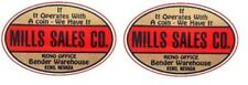 Mills Sales Company non sticker water slide restoration slot machine decal pair