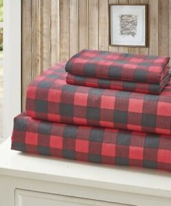Buffalo Plaid Red 4 pc King Sheets and Pillow Cases Set Bear Country Microfiber
