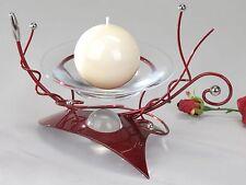 Moderner Kerzenständer aus Metall Aida-bordeaux Höhe 18 cm