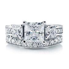 Sterling Silver 925 CZ Princess 3 Stone Engagement Ring Wedding Band Set Sz 5-10