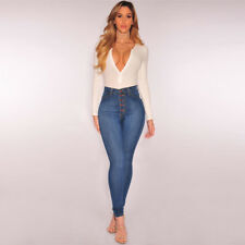 Ladies Women's High Waist Slim Skinny Jeans Stretch Pencil Denim Pants Trousers