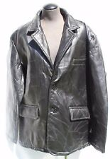 Men's Black Leather Patchwork Coat Jacket By Haband Executive Division Lined XL