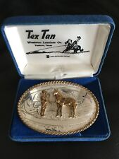 VINTAGE Tex-Tan COOL STERLING SILVER FRONT Horse Trophy Belt Buckle BOX