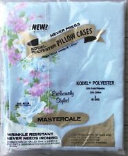 Set of 2 Vintage Kodel Blue Floral Pillowcases Poly Cotton Mastercale No Iron