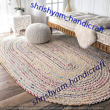 Oval Braided Natural 3x5 Feet Multi Color Indian Cotton Floor Carpet Rugs Rags