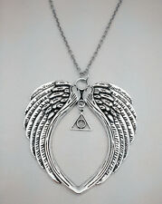 Tibetan silver Large Angel's Wings with Deathly Hallows Charm Necklace