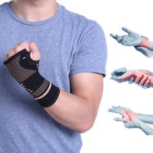 Compression Gloves Copper Wrist Support Arthritis Sports Hand Palm Brace Sleeve