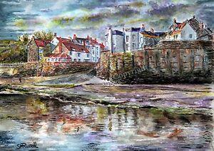 Robin Hood's Bay Yorkshire Coast Art Print of watercolour painting by RussellArt