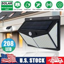208 LED Yard Solar Wall Light PIR Motion Sensor Outdoor Garden Lamp Waterproof