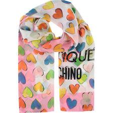 Moschino Scarf Love Hearts Print  Long 65cm x 170cm 100% Silk Pink New RRP£155