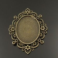 6X Antiqued Bronze Lace Ellipse Style Cameo Tray Setting Pendant Jewelry Making