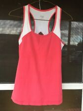 Danskin Now Women's Size M Pink & White Racerback Tank Top Just Adorable!