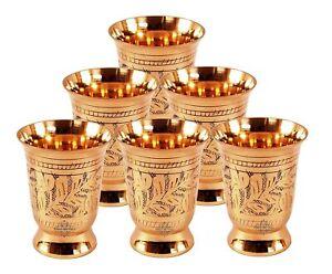 Traditional Handmade Designer Brass Glass Goblet Tumbler 250 ML Set of 6
