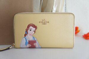 NWT Coach C2894 Disney X Medium Id Zip Wallet With Belle Vanilla Cream Multi