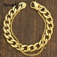 Mens Double Chain Curb + Wheat Link Bracelet Gold Stainless Steel Bangle Jewelry