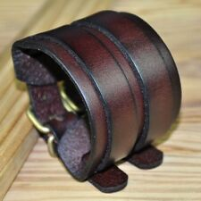 JS85 Quality Double Layers Real Leather Bracelet Wristband Cuff Vintage Brown