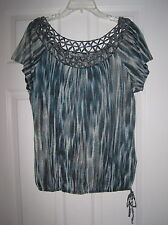 NWOT LUCKY BRAND BLUE STRIPE KNIT CRINKLE DECOR L CUTOUT NECKLINE TOP BLOUSE