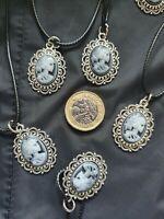 Ladies Black White Skull Cord Necklace Grey Vintage Lady Skeleton Cameo Pendant