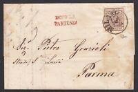 """LOMBARDO VENETO 30c. su lettera 1858 da Milano x Parma con """"Dopo la partenza"""""""