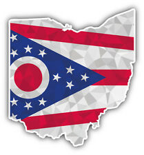 Ohio USA State Map Flag Car Bumper Sticker Decal 5'' x 5''