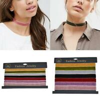 7Pcs/Set Velvet Choker Collar Pendant Necklace Gothic Punk Handmade Jewelry U87