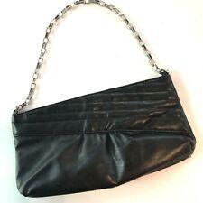 Victoria's Secret Purse Chain Strap Black Faux Leather 11 X 6 Clutch Pink Lining