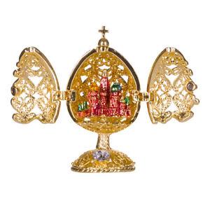 Fabergé geschnitzt Ei mit Kirche des Erlösers auf Blut St.Petersburg 6,5 cm gold