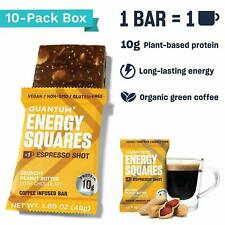 Quantum Energy Squares Bar Vegan Coffee Protein 10 Bars PEANUT BUTTER CHOCOLATE