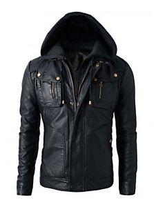 New Men's Motorcycle Brando Style Biker Leather Hoodie Jacket - Detach Hood