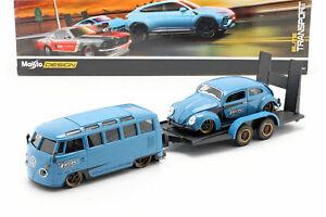 Maisto Design Elite Transport VW Samba & Volkswagen Beetle 1:24 Scale