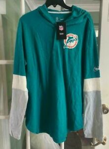 Men Nike Historic Henley Vintage DOLPHINS Hooded Sweatshirt NWT NKBR-437M Size L
