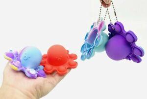 Push Pop Bubble it Flip Octopus Keyring Fidget Sensory Silicone Stress Reliever