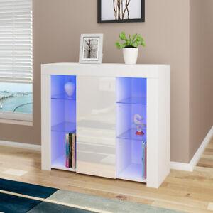 Cabinet Cupboard sideboard TV Unit Matt Body and High Gloss Doors + LED Light!