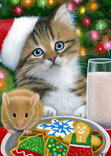 Kitten cat mouse cookies milk Santa Christmas tree OE ACEO print of painting art