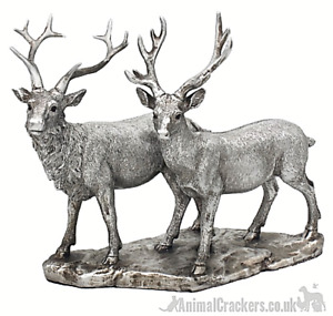 Large 25cm Stag & Deer ornament Leonardo Reflections silver effect, gift boxed