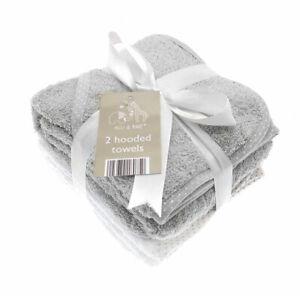 ELLI AND RAFF 2 GREY WHITE HOODED BATH TOWELS NEWBORN BABY SHOWER WRAP BOY GIRL