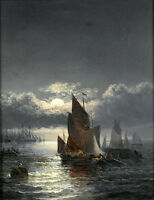 """Dream-art oil painting seascape sail boats in moon night with ocean waves 36"""""""