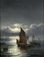 """Art oil painting seascape sail boats in moon night with ocean waves 24""""x36"""""""