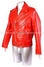 Men's Brando Red Bikers Jacket Motorcycle Leather Jacket Cowhide Leather