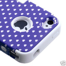 APPLE iPHONE 4 4S MULTI-LAYER HYBRID CASE COVER SKIN ACCESSORY DOTS PURPLE/WHITE